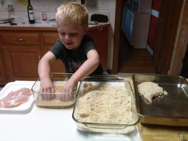Joe enjoying getting his hands sticky! ~ 3.5 years old