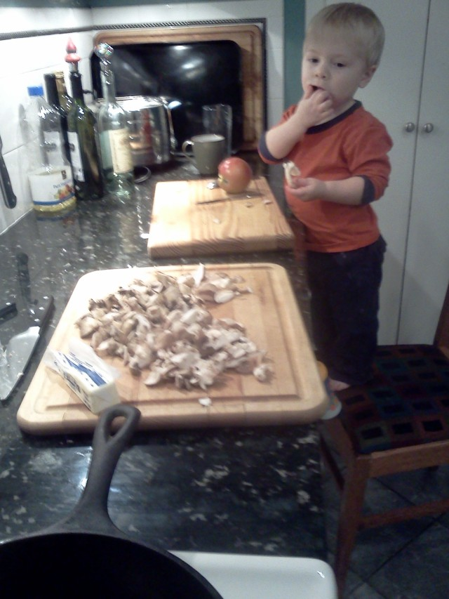 Chopping (and eating) mushrooms - 12/2011 Joe ~23 months